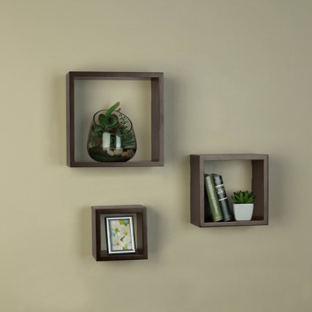 Melannco Square Shelves, Espresso, Set of 3
