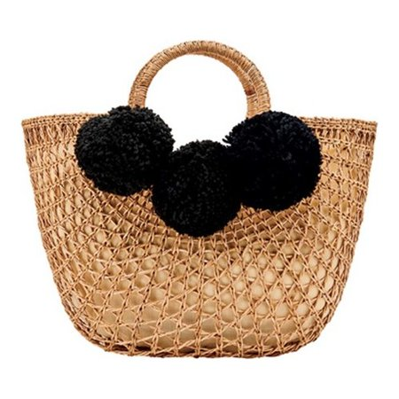 Natural Rattan - Women's San Diego Hat Company Open Weave Rattan Tote Bag BSB1748 Natural OSFA