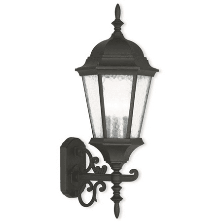 Wall Sconces 3 Light With Cast Aluminum Clear Water Glass Textured Black size 24 in 180 Watts - World of Crystal