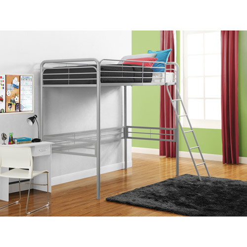 Metal Twin Loft Bed, Multiple Colors