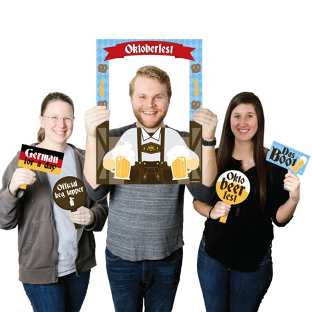 Oktoberfest Props (Oktoberfest - German Beer Festival Selfie Photo Booth Picture Frame & Props - Printed on Sturdy)