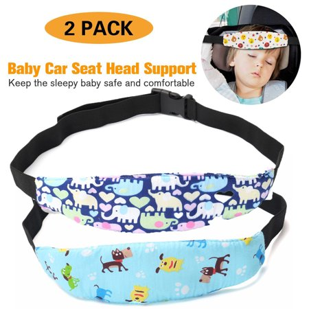 2-Pack Adjustable Safety Baby Kids Car Seat Neck Relief Head Support Safety Stroller Sleeping Belt, Light Blue Dog+Blue (Adjustable Head Support)