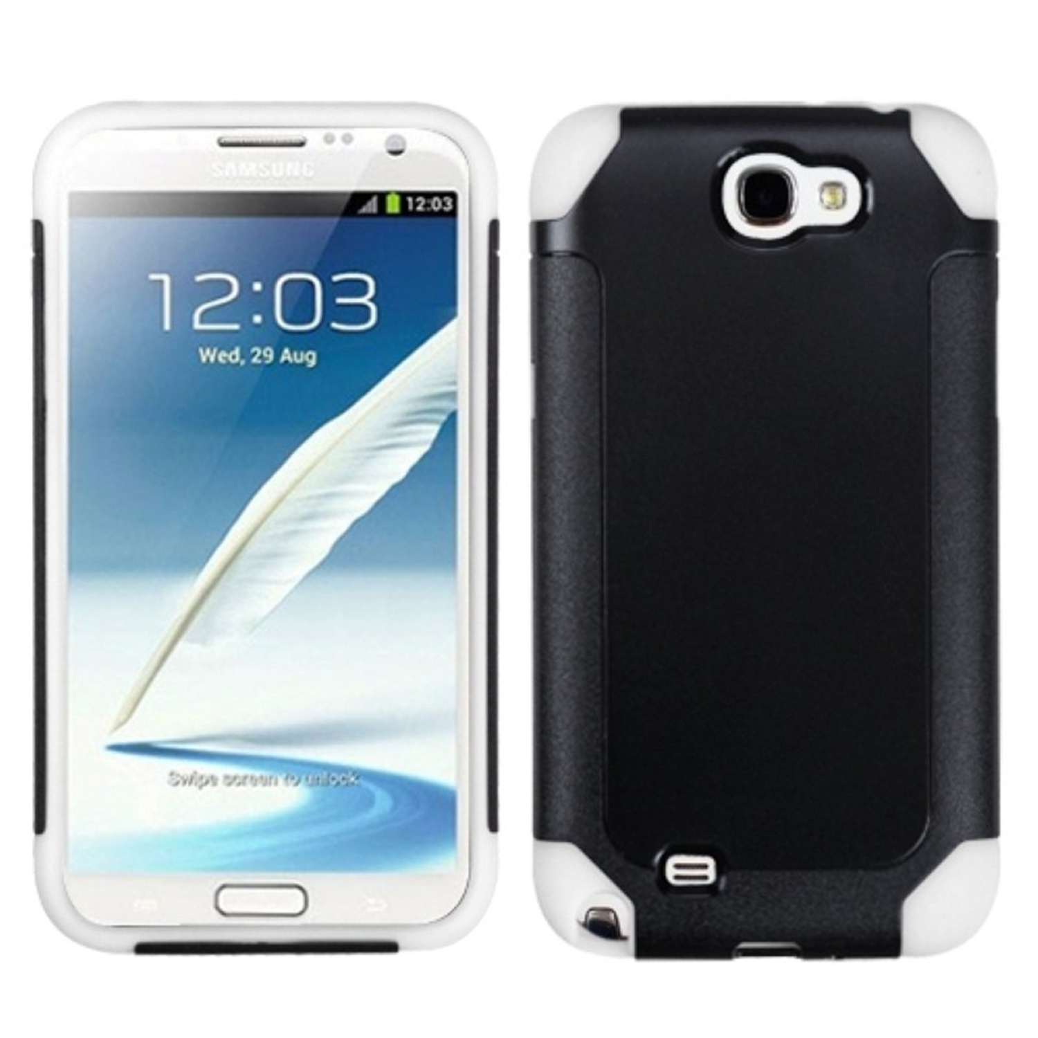 Insten Black/White Frosted Fusion Case for SAMSUNG: Galaxy Note II (T889/I605/N7100)
