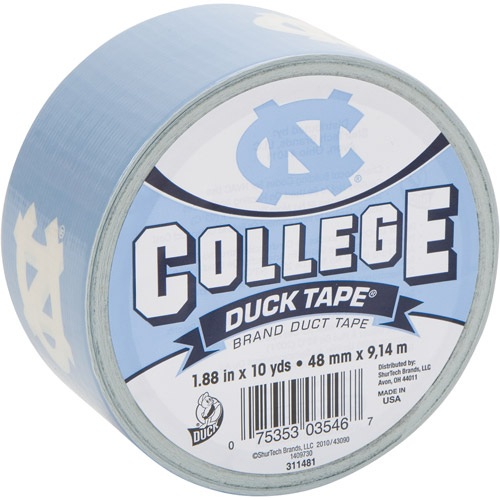 "Duck Brand Duct Tape, College Logo Duck Tape, 1.88"" x 10 yard, North Carolina Tar Heels"