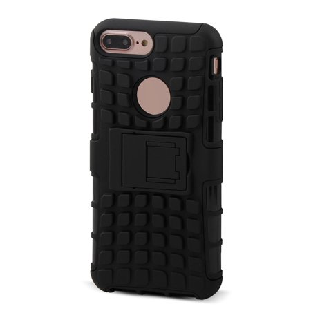 Cell Phone Stand Design Shockproof Back Guard Case Cover Black for iphone 7 (Cell Phone Cases For Iphone 7 Plus)