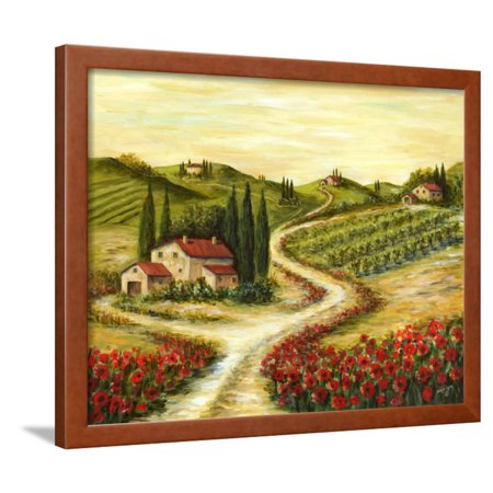 - Tuscan Road With Poppies Framed Print Wall Art By Marilyn Dunlap