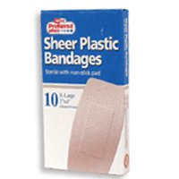 Sheer Plastic Bandages Sterile With Non Stick Pad, Extra Large - 10 Ea (Plastic Sticks)