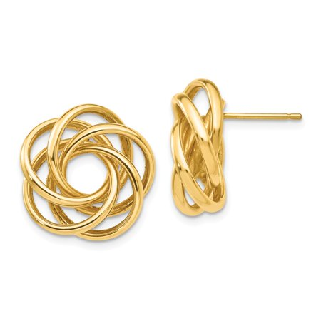 14k Yellow Gold Polished Post Earrings Love Knot Earrings - 5.0 (Polished Knot Earrings)