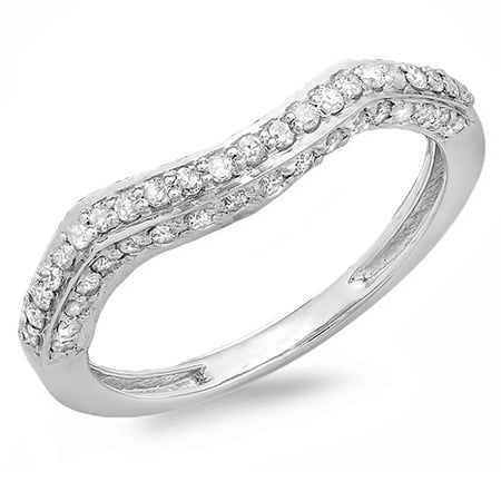 18k 18k Wg Ring - Dazzlingrock Collection 0.45 Carat (ctw) 18K Round Diamond Contour Wedding Stackable Band Ring 1/2 CT, White Gold, Size 8