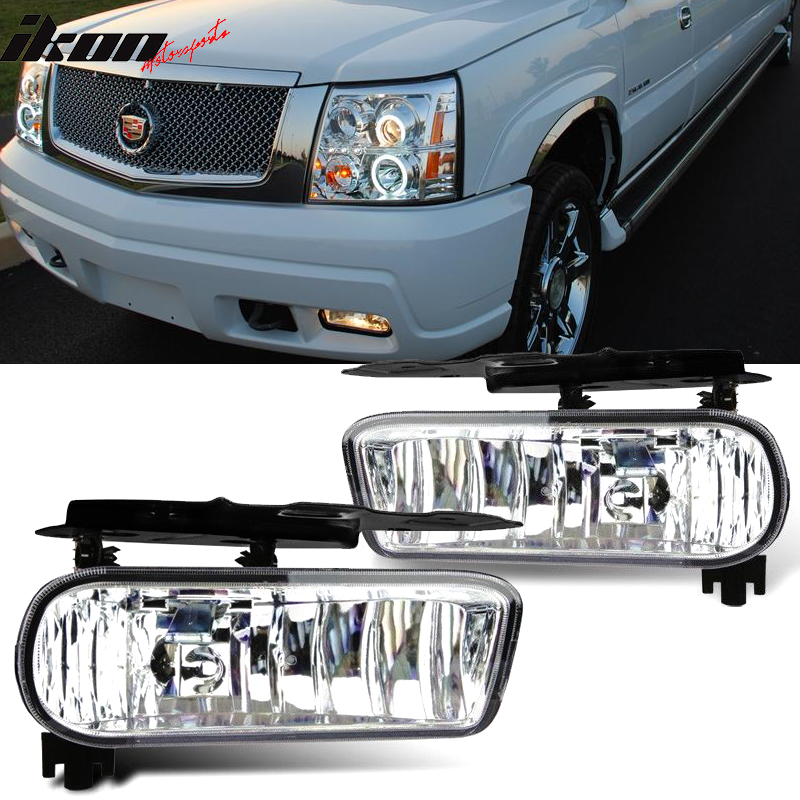 Fits 02-06 Cadillac Escalade OE Front Fog Light Lamp Foglight Clear Lens Pair
