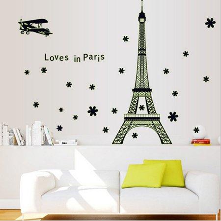 Paris Eiffel Tower Night Fluorescent Wall Sticker Home Decor Mural Vinyl Decal Home Room Decoration for $<!---->