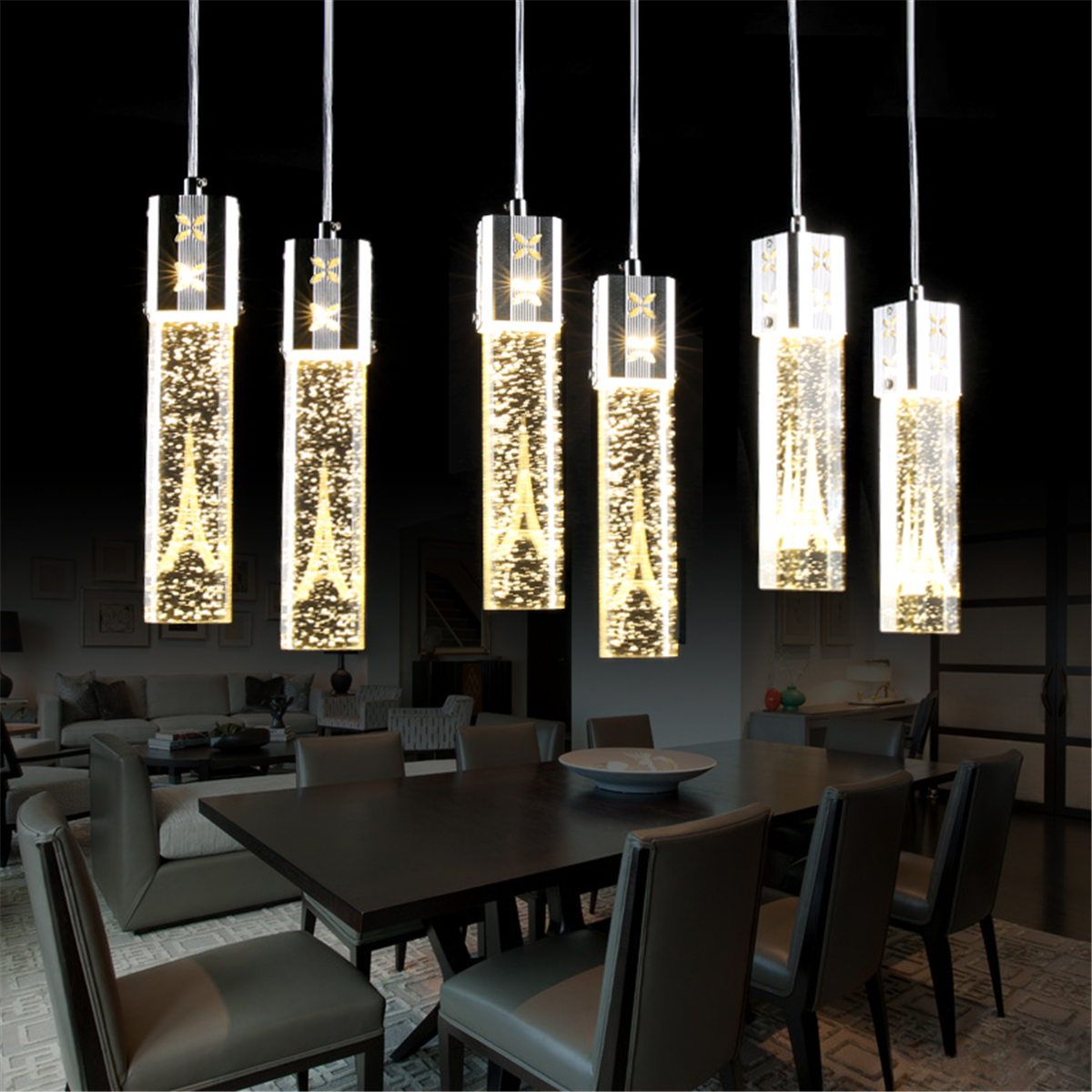 1pcs Modern Led Clear Crystal Column Eiffel Tower Bubble Pendant Lights  Lamps Nordic Single Head Dining Rooms Restaurants Cafe Bar Living Rooms ...