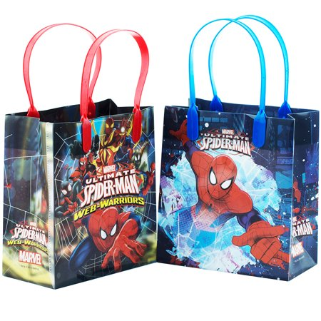 Spiderman Birthday Favors (Spiderman Web Warrior Reusable 12 Party Favors Small Goodie Gift Bags)