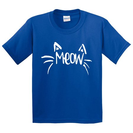 Trendy USA 844 - Youth T-Shirt Meow Cat Whiskers Ears Cute Funny Small Royal Blue](Cat Ears And Whiskers)
