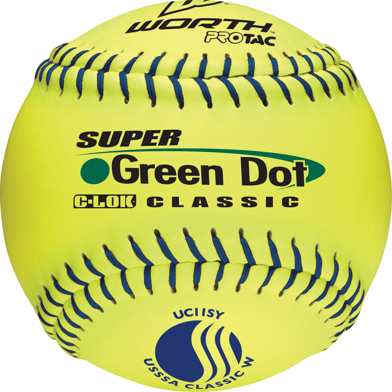 Worth USSSA 11 in. Super Green Dot Slowpitch Softballs - 1 Dozen