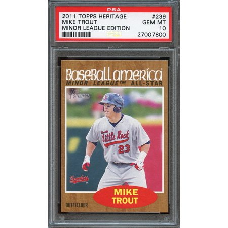 2011 topps heritage minor league edition #239 MIKE TROUT angels rookie PSA 10 - Minor League Game Mound