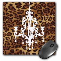 3dRose Fashionable brown leopard print with white chandelier, Mouse Pad, 8 by 8 inches