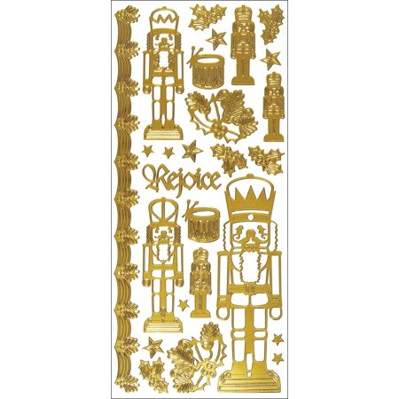 Dazzles Stickers -Nutcracker-Gold, These shiny and sparkly stickers are great for cards; scrapbook pages; candles; album covers; boxes;.., By Hot Off The - Sparkly Candles