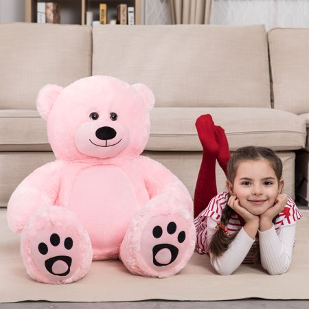 WOWMAX 3 Foot Giant Teddy Bear Danny Cuddly Stuffed Plush Animals Teddy Bear Toy Doll for Birthday Christmas Pink 36 Inches