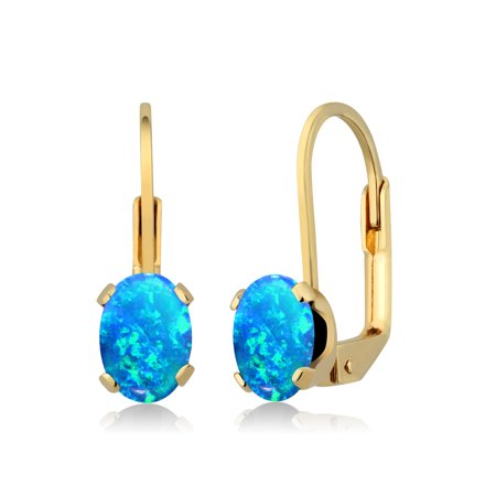 1.26 Ct Oval Cabochon Blue Simulated Opal 14K Yellow Gold Earrings
