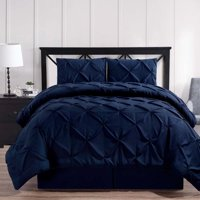 Luxury Oxford Pinch Pleated Down Alternative Comforter Set With Bed Skirt- Navy - California King