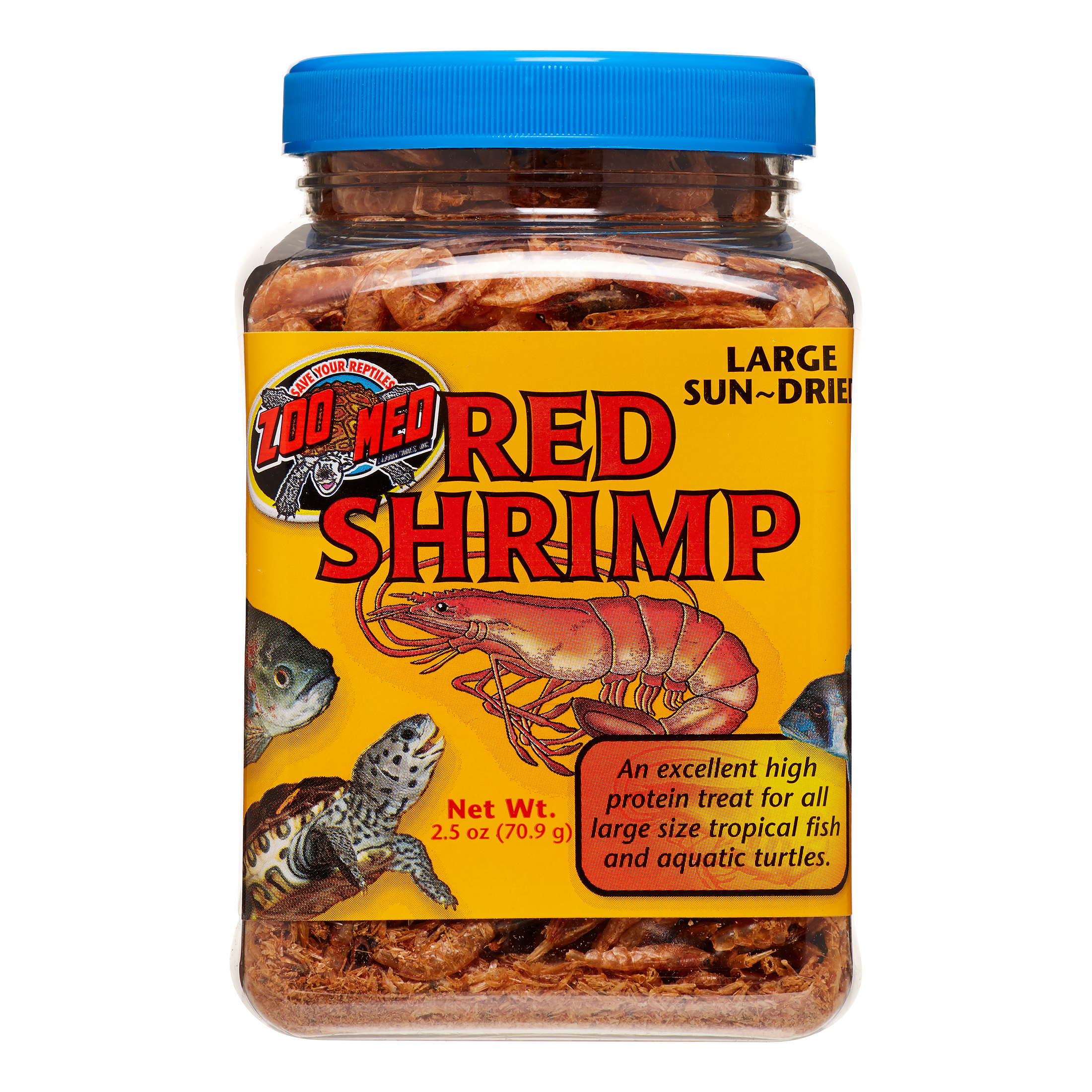 Zoo Med Large Sun-Dried Red Shrimp Pellets Tropical Fish Food, 2.5 Oz
