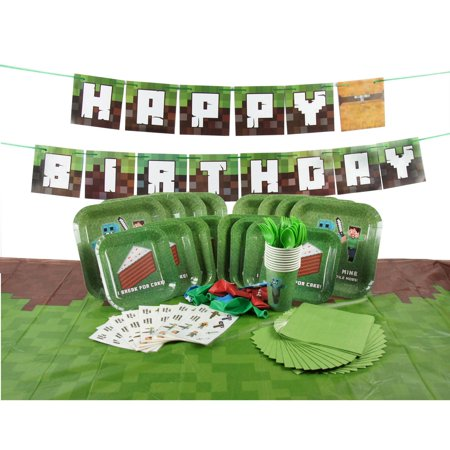 Complete Premium Tableware for Miner Crafting Pixel Themed Birthday Parties with Happy Birthday Banner! (Serves 8) - Beach Themed Parties For Adults