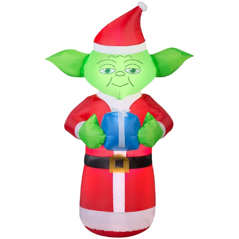5 Airblown Inflatable Yoda With Present Star Wars Christmas Inflatable Walmart Com Walmart Com