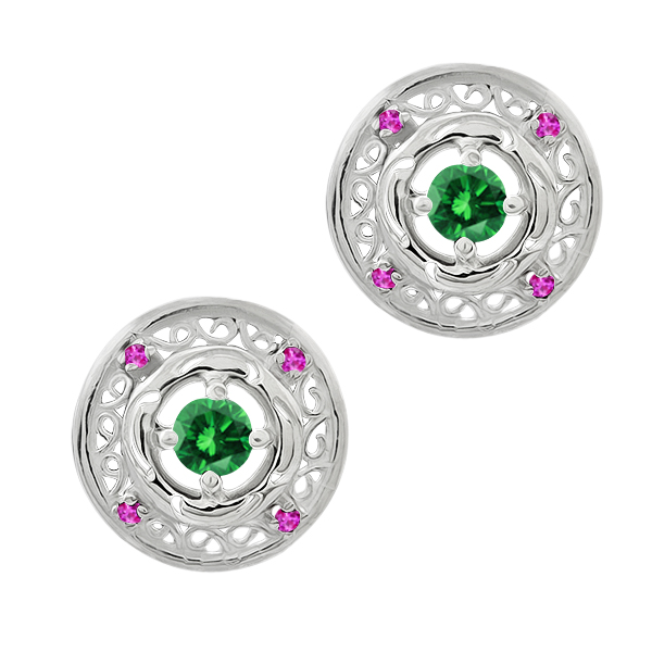 0.60 Ct Round Green Diamond Pink Sapphire 925 Sterling Silver Earrings