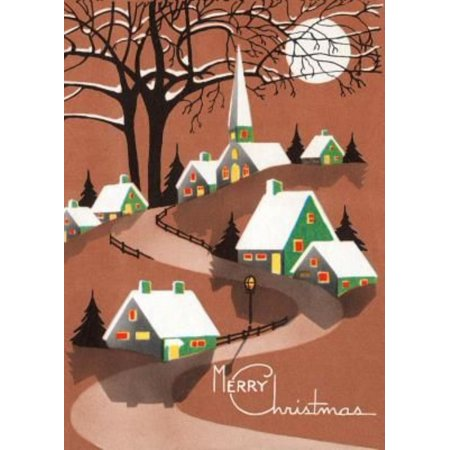 Buildings and Trees Topped with Snow Beneath Moon - Christmas Greeting Card (6 Cards Individually Bagged W/ Envelopes & Header)