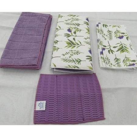 Smart Home Purple Blooms Kitchen Towel & Dry Mat - 8 Piece Set ()