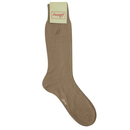 - Brioni Men's Light Brown 100% Cotton Ribbed Knit Logo Socks (11.5)