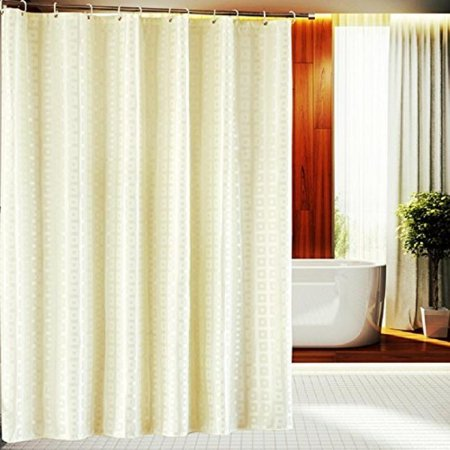 Welwo Beige Fabric Shower Curtain Set 86 X 78 Inches For Five Star Hotel Bathroom