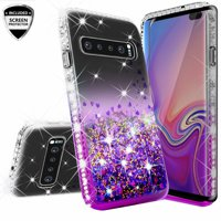 Wydan Case For Samsung Galaxy S10E, S10 Lite - Glitter Hybrid Shockproof Liquid Quicksand Bling Phone Cover w/ Screen Protector - Purple