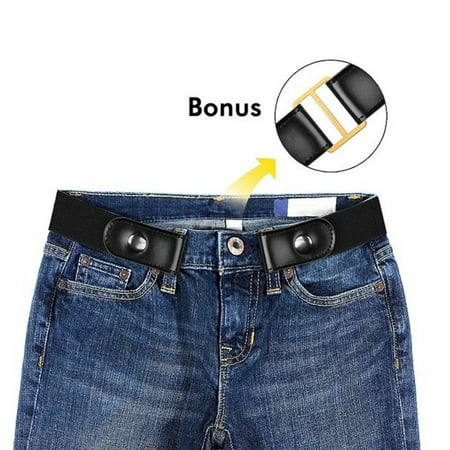 No Buckle Stretch Belt For Women/Men Buckle Free Elastic Waist Belt for Jeans ()