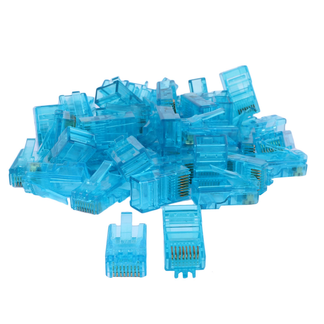 RJ45 8P8C CAT5 Modular Ethenet Network Cable LAN Connector Clear Blue 50pcs