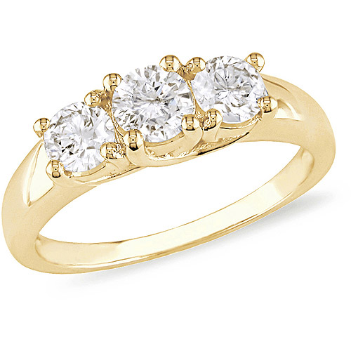 1 Carat T.W. Three-Stone Diamond Engagement Ring in 14kt Yellow Gold, IGL Certified by
