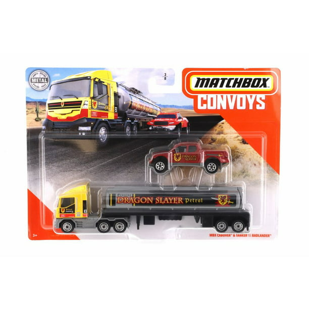 MBX Cabover & Tanker w/ Badlander, Yellow with Red - Mattel GBK70-956A - 1/64 scale Diecast Model Toy Car