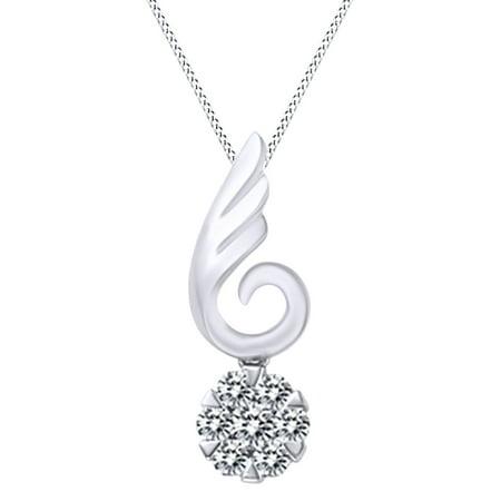 Round Cut White Natural Diamond Wing Circle Pendant Necklace In 14k White Gold Cut Diamond Circle Pendant
