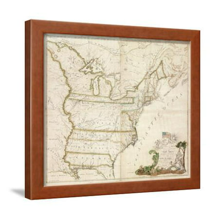 Buell Frame (America's First National Map, 1784 Framed Print Wall Art By Abel)