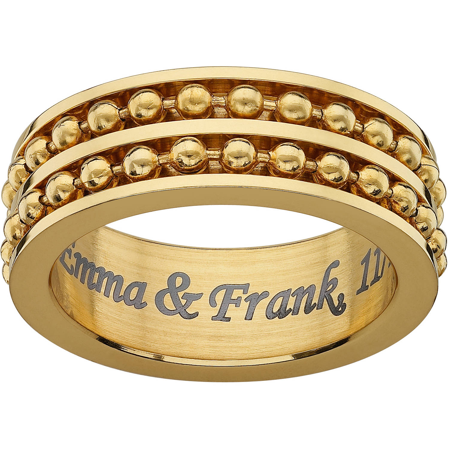 Personalized Gold Stainless Steel Engraved Ball Bead Spinner Band