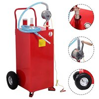 """GHP 30-Gallon Capacity 80RPM Red Solid Steel Gas Caddy Tank Storage with 10"""" Wheels"""