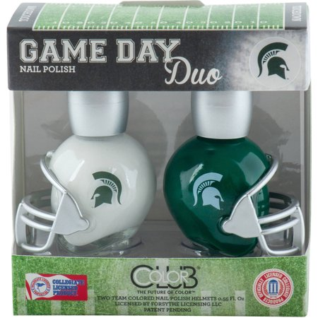 Color Club Polish Game Day Duo Pack Nail Lacquer, Michigan State, 0.55 fl oz