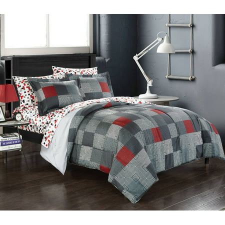 Velvet Comforter Set Bed (American Original Geo Blocks Bed in a Bag Bedding Comforter)