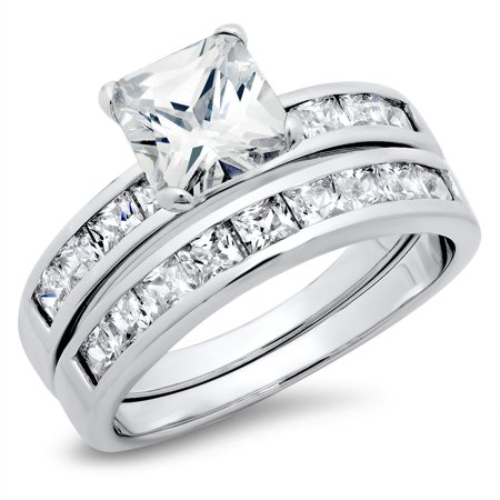Sterling Silver Cubic Zirconia 2 8 Carat Tw Princess Cut Cz Wedding Engagement Ring Set  Nickel Free Sz 7