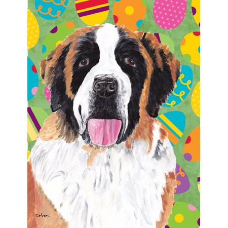 Caroline's Treasures Saint Bernard Easter Eggtravaganza 2-Sided Garden Flag