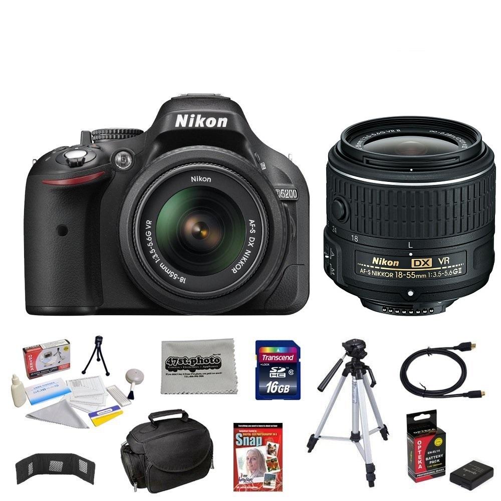 Nikon D5200 24.1 MP CMOS Digital SLR with 18-55mm f/3.5-5.6 AF-S DX VR NIKKOR Zoom Lens + 10 Piece Accessory Bundle.