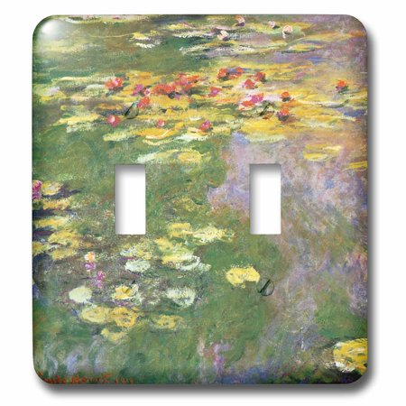 3dRose Water Lily Pond vintage Monet - Double Toggle Switch