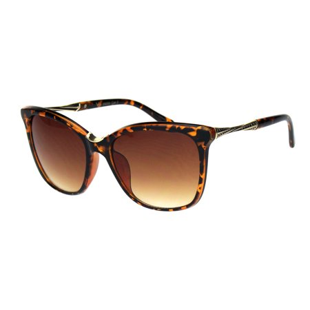 Tortoise Plastic Fashion - Womens Large Cat Eye Designer Plastic Fashion Luxury Sunglasses Tortoise Brown