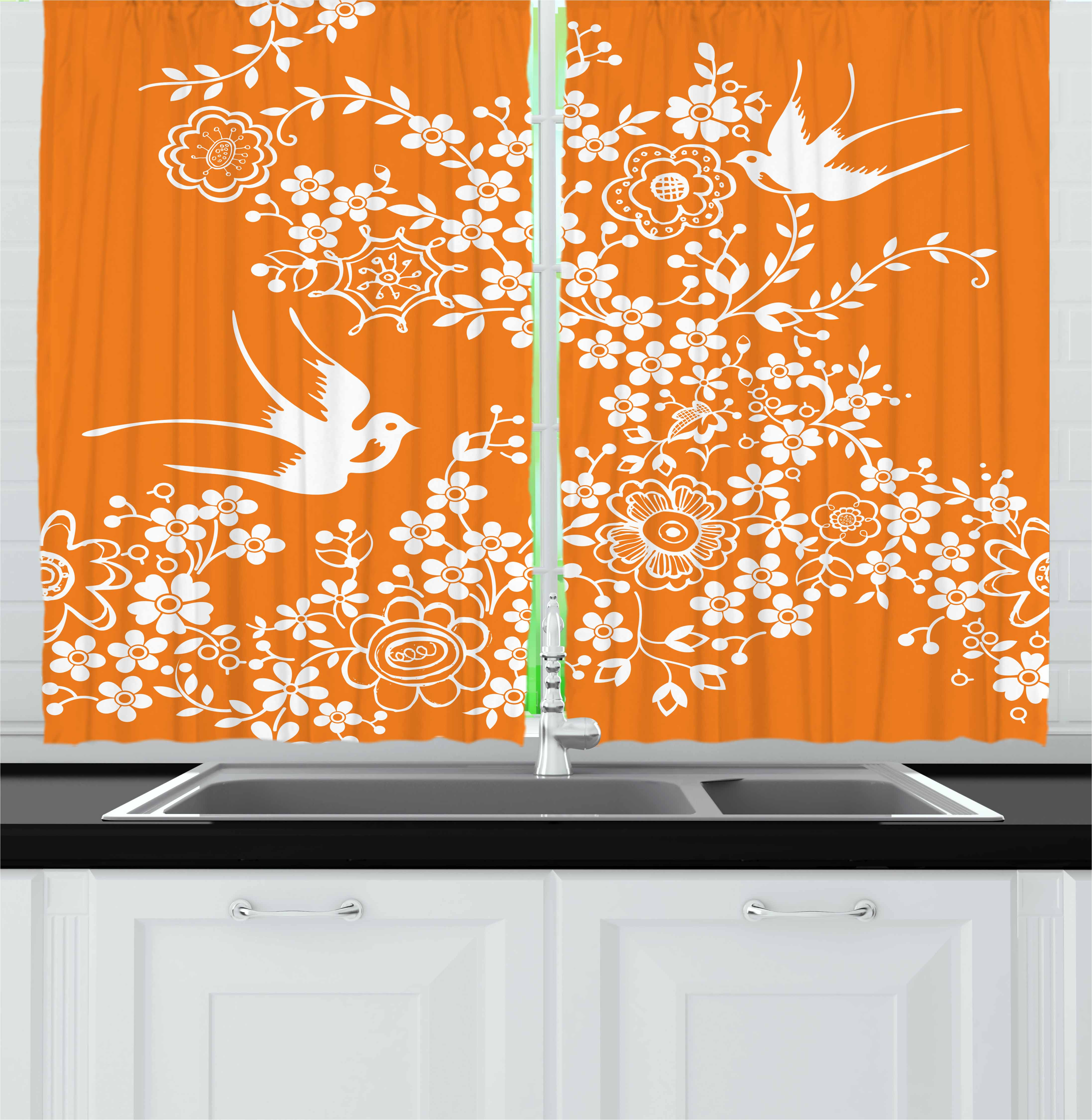 Superbe Orange And White Curtains 2 Panels Set, Asian Flora And Fauna Doodle Style  Bird Silhouettes And ...